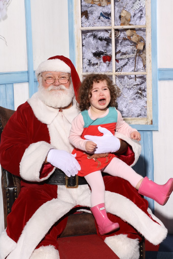 Crying Girl Seeing Santa